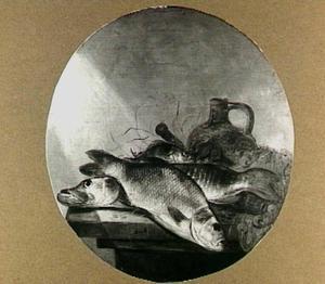 Visstilleven met snoek, bliek en andere zoetwatervis en visnet