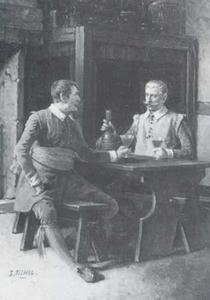 Twee drinkende mannen aan tafel