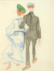 Wandelend paar, op de rug gezien