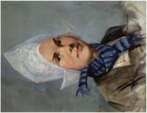 Volendams meisje met blauw gestreept sjaaltje