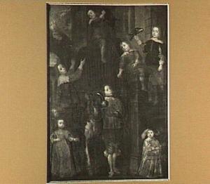 Portret van de zeven zonen en een dochter van de schilder Hieronymus de Neve