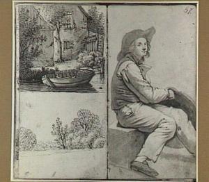 Huis aan het water met een roeiboot, boomrijk landschap en zittende man