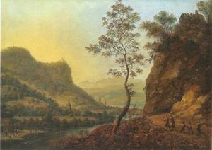 Berglandschap met rivier en reizigers