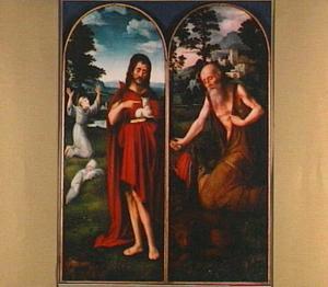 De H. Johannes de Doper. In de achtergrond de H. Franciscus van Assisi (links); De H. Hieronymus in de woestijn (rechts)