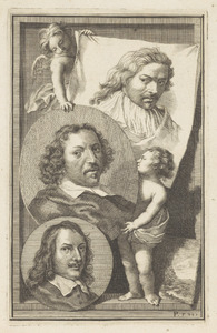 Portretten van Cornelis Saftleven (1607-1681), Herman Saftleven (1609-1685) en David Teniers II (1610-1690)