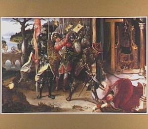 Keizer Heraclius onthoofdt koning Chosroë II van Perzië. In de achtergrond: keizer Heraclius verslaat de zoon van koning Chosroë