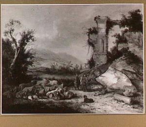 Italiaans landschap met herders en een kudde bij een ruïne