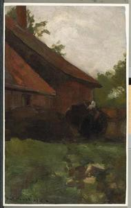 Woman and farm building in the Achterhoek