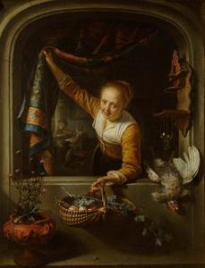 Jonge vrouw met mand met vruchten in een venster