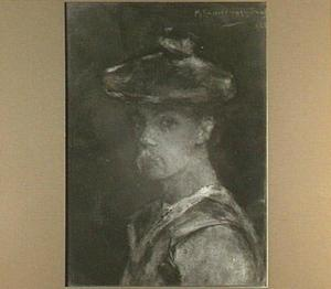 Zelfportret van de schilder Menso Kamerlingh Onnes met rode baret