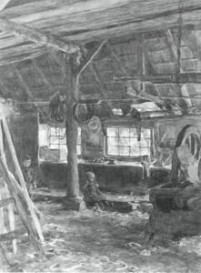 Meisje op een schommel in de werkplaats