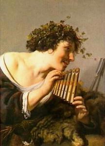 Pan op zijn fluit spelend
