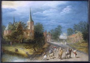 Gezicht op een dorp met reizigers en vee