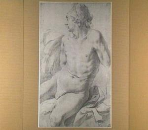 Zittend mannelijk naakt, kijkend naar links
