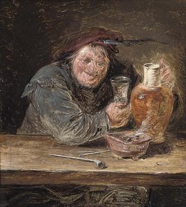 Drinkende en rokende boer met een glas en een vuurtest