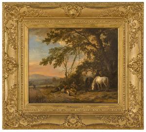 Landschap met rustende figuren en paarden
