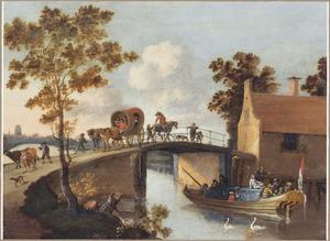 Landschap met huifkar en reizgers op een brug, op de achtergrond mogelijk de Grote of Sint-Laurenskerk te Rotterdam