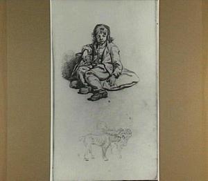 Zittende jongen en studies van twee honden