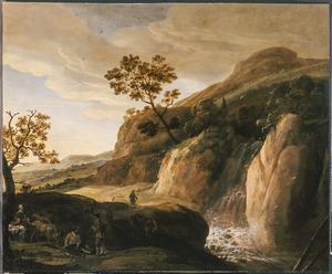 Berglandschap met enkele reizigers bij een waterval