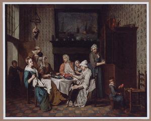 Interieur met een elegant gezelschap etend en drinkend