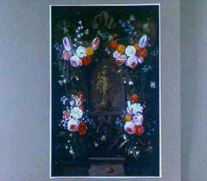 Relief met Christuskind omringd door bloemen en insekten