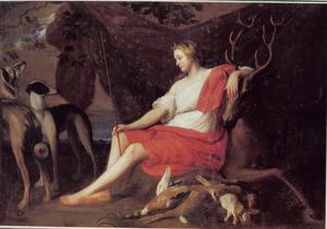 Diana op een hert rustend met jachthonden en jachtbuit