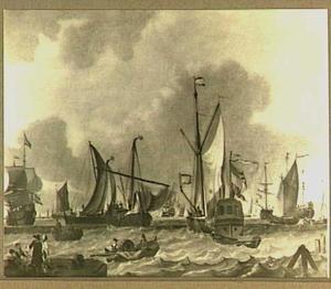 Verschillende schepen voor de kust met links een kade