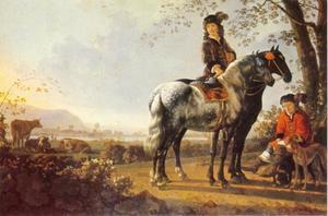 Landschap met een ruiter te paard en een afgestegen ruiter