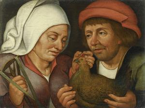 Boer en boerin met een kip en een spinklos