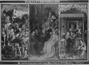 Keizer Trajanus hoort de smeekbede aan van een weduwe, wiens zoon werd vermoord door Trajanus' leger (links), de Gerechtigheid (midden; overschilderd door J. Waben), Herkenbald snijdt zijn neef de keel door (rechts)
