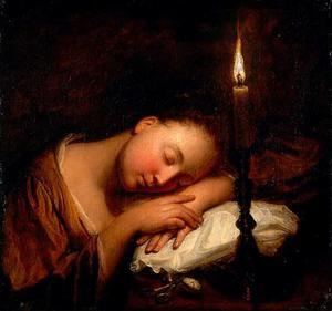 Slapend meisje bij kaarslicht