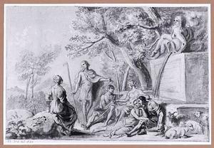 Rustende herders bij een fontein in een landschap
