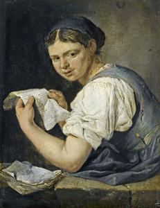 Jonge brieflezende vrouw