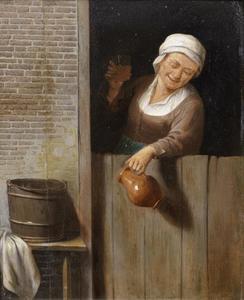 Oude vrouw proostend over een ondedeur