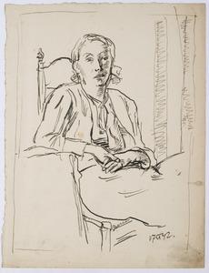 Portret van Amrey, zittend op een stoel
