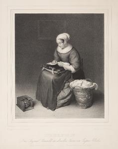 Jonge vrouw met naaiwerk
