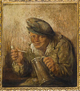 Rokende en drinkende man; allegorie op de smaak