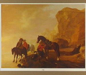 Berglandschap met ruiters bij een paardenwed