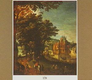 Landschap met reizigers en soldaten op een weg; in de verte een kasteel