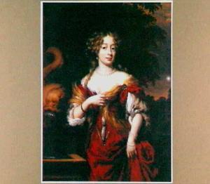Portret van een vrouw bij een fontein