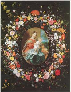 Bloemenkrans rond om een voorstelling van de maagd Maria met het Christuskind en Johannes de Doper