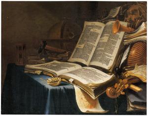 Vanitasstilleven met boeken en muziekinstrumenten