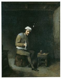 Een drinker in een interieur