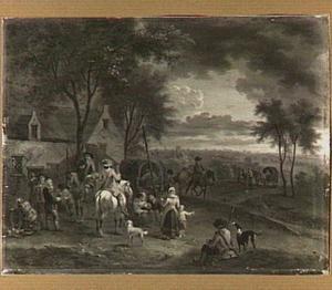 Landschap met ruiters op een dorpsweg