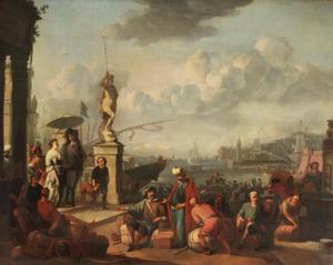 Figuren op de kade van een mediterrane haven