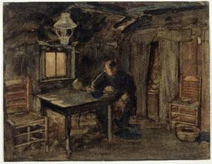 Hannes van Nistelrode seated in his farmhouse
