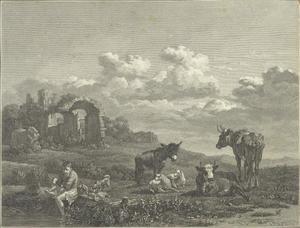Zuidelijk landschap met vee bij een ruïne