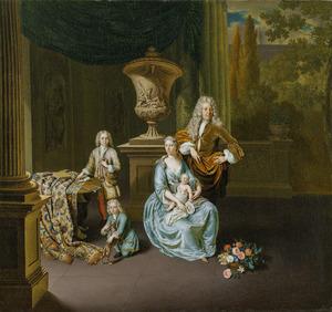 Familieportret van Diederik van Leyden (1695-1764), zijn echtgenote Sophia Dina de Rovere (1699-1738) en hun kinderen Pieter Cornelis (1717-1788), Jan (1721-1782) en Adriaan Pompejus (1727-1729)