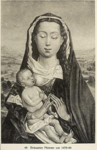 Maria met kind in een landschap (op de achterzijde: een stilleven met boeken, een waterkan en een schaal in een nis)
