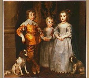 De drie oudste kinderen van Karel I, staande ten voeten uit met twee spaniëls
